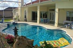 Swimming Pool and Lanai. A swimming pool, spa and lanai in Florida Royalty Free Stock Photo