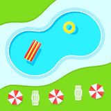 Swimming pool, landscape top view. Inflatable ring and mattress for swimming, sun umbrellas and chaise on the grass. Color vector illustration  on white Stock Photo