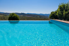 Swimming pool with landscape view Royalty Free Stock Photos