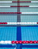 Swimming pool lanes. And lane ropes royalty free stock photography