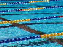 Swimming pool lanes. Side view of swimming pool lanes royalty free stock photos