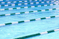 Swimming Pool Lanes. A view of the lanes in a competitive swimming pool stock photo