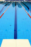 Swimming pool launch pad & water lines Royalty Free Stock Images