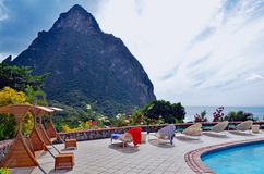 A spa setting facing the Pitons of St. Lucia, West Indies, Windward Islands, Carinneam stock image