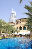 Swimming pool at luxurious hotel. Dubai downtown, UAE Stock Photography
