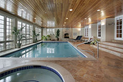 Swimming pool in luxury home Stock Photo