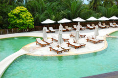 Swimming pool at the luxury hotel Royalty Free Stock Image