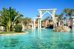 The swimming pool at luxury hotel Stock Images