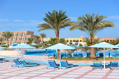 The swimming pool at luxury hotel Royalty Free Stock Photo