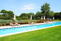 The swimming pool at luxury hotel Royalty Free Stock Image