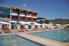 Swimming pool of luxury hotel. Beautiful swimming pool of luxury hotel Royalty Free Stock Photos
