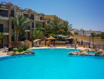 Swimming pool of luxury hotel in Egypet.Hurghada.July 2009 stock photo