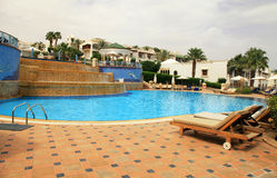 Swimming pool of luxury hotel, Egypt stock photos
