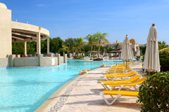 The swimming pool at luxury hotel Stock Photos