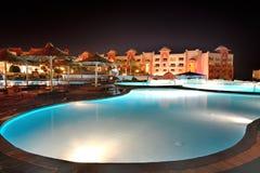 The swimming pool at luxury hotel in night illumination Stock Photo
