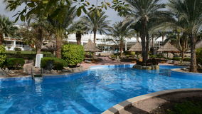 The swimming pool at luxury hotel. Sharm el Sheikh, Egypt stock video