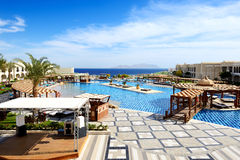 Swimming pool at luxury hotel Royalty Free Stock Images