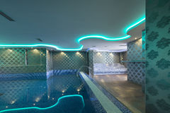 Swimming pool in luxury hotel spa center Royalty Free Stock Photography