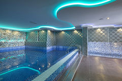 Swimming pool in luxury hotel spa center Royalty Free Stock Photos