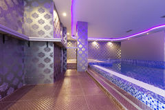Swimming pool in luxury hotel spa center Royalty Free Stock Images
