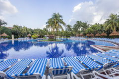 Swimming pool in luxury resort, Riviera Maya, Mexico stock photos
