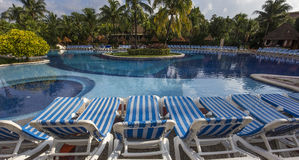 Swimming pool in luxury resort, Riviera Maya, Mexico. A view in CANCUN , MEXICO, DECEMBER 21, 2016 : Swimming pool in luxury resort hotel, december 21, 2016 in stock photo