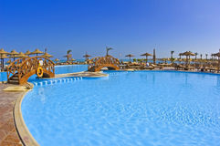 Swimming pool of luxury tropical hotel. Large swimming pool of a luxury hotel in a tropical resort with ocean view Stock Photos