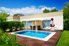 The swimming pool at luxury villa Royalty Free Stock Photo