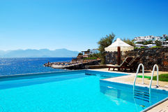 Swimming pool at luxury villa. Crete, Greece royalty free stock photo