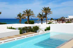 Swimming pool at luxury villa. Crete, Greece stock photography