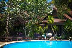 Swimming pool at luxury villa, Koh Phangan Stock Photos