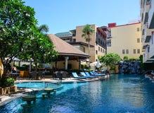 Swimming pool at the luxury villa. Phuket, Thailand - Jul 19, 2016. Swimming pool at the luxury villa in Phuket, Thailand. Phuket is Thailands largest island at Stock Photography