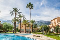 Swimming pool at luxury villa, Spain. Beautiful villa with swimming pool, view outdoor royalty free stock images