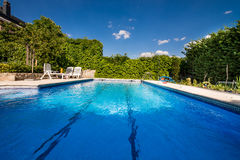 Swimming pool, Madrid,Spain. View of pool in area residential in Penascales residential area, Torrelodones town, Madrid province, Spain stock photo