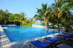 Swimming pool in Maldives beach. The swimming pool near the beach,Maldives royalty free stock photography