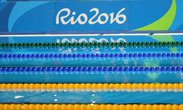 Swimming pool at the Maria Lenk Aquatics Centre during Rio 2016 Olympic Games. RIO DE JANEIRO, BRAZIL - AUGUST 12, 2016: Swimming pool at Olympic Aquatic Center stock images