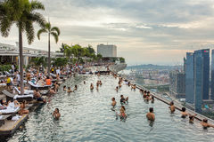 Swimming pool of the Marina Bay Sands hotel in Singapore. Royalty Free Stock Photography