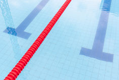 Swimming pool and marked lanes in competition pool. Royalty Free Stock Photography