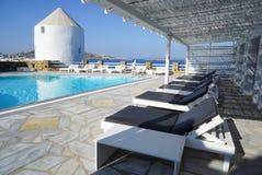 Swimming pool with mediterranean sea view,Mykonos,Greece. Stock Photo
