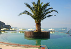 Swimming pool and Mediterranean sea view Royalty Free Stock Image