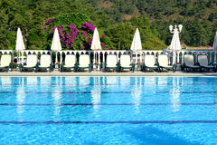 Swimming pool on Mediterranean turkish resort Royalty Free Stock Photo