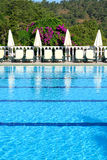 Swimming pool on Mediterranean turkish resort Stock Photo