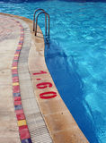 Swimming Pool with Metal Ladder and Warning Stock Image