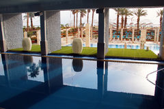 Swimming pool with mineral water of the Dead Sea stock images
