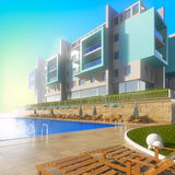 Swimming pool and modern hotel. Royalty Free Stock Photography