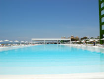 Swimming pool at modern luxury hotel Royalty Free Stock Images