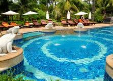 Swimming pool at modern luxury hotel Royalty Free Stock Image