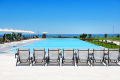 Swimming pool at modern luxury hotel Royalty Free Stock Image