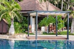 Swimming pool at modern luxury hotel, Samui Stock Photo