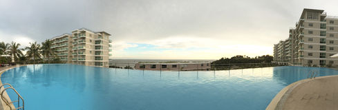 Swimming pool at the modern luxury resort Royalty Free Stock Images